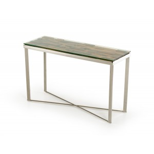 Modrest Santiago Modern Rectangular Wood Mosaic Console Table