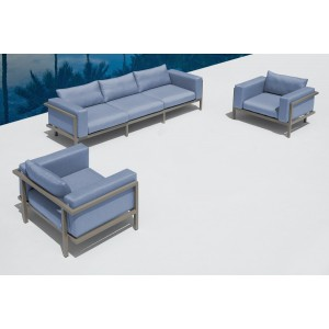 Renava Sardinia Outdoor Blue 3-Piece Sofa Set