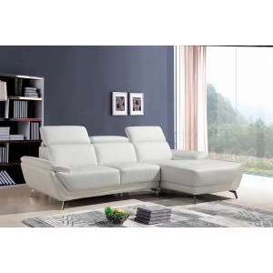 Divani Casa Sterling Modern White Eco-Leather Sectional Sofa