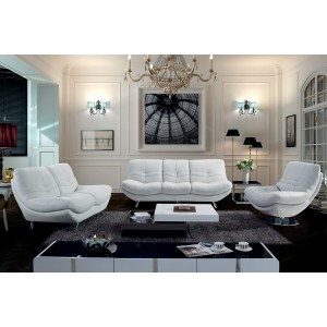 Divani Casa 9034 - Modern White Leather Loveseat