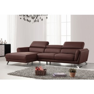 Divani Casa Doss Modern Brown Eco-Leather Sectional Sofa
