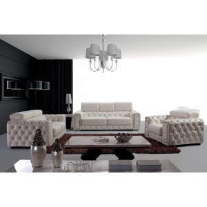 Divani Casa Lumy - Modern Tufted Leather Sofa Set