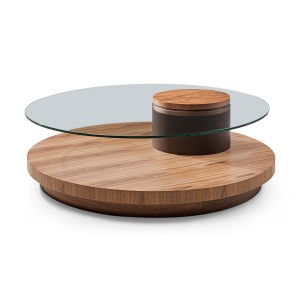 Modrest Memphis Modern Walnut & Glass Round Coffee Table