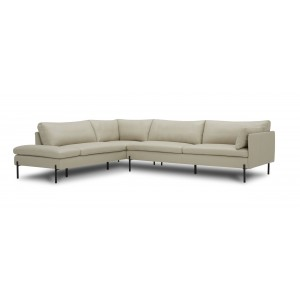 Divani Casa Sherry - Modern Grey LAF Chaise Leather Sectional Sofa