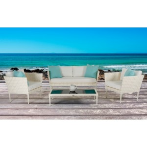 Renava Shery Outdoor White Wicker Sofa Set