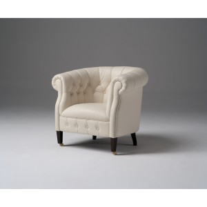 Estro Salotti Spark Modern White Leather Lounge Chair