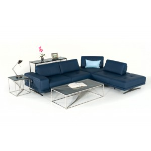 Estro Milano Spazio Italian Modern Blue Leather Sectional Sofa
