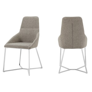 Stark - Modern Light Grey Fabric Dining Chair (Set of 2)