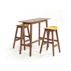 Modrest Steed Modern Walnut Bar Table Set