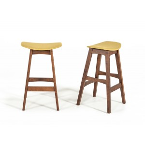 Modrest Steed Modern Yellow & Walnut Bar Stool (Set of 2)