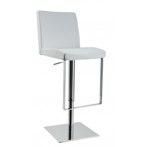 Modrest Teagan - Contemporary White Leatherette Bar Stool