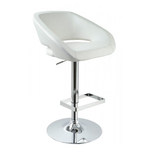Modrest Joel - Contemporary White Eco-Leather Bar Stool