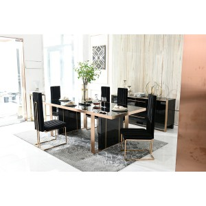 Nova Domus Cartier Modern Black & Rosegold Dining Table