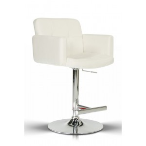 Modrest Lindy Contemporary White Leatherette Bar Stool