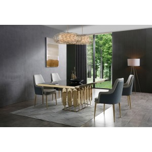 Modrest Griffith Modern Black Glass & Gold Dining Table