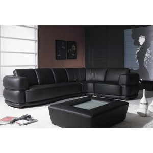 Yil T25 - Contemporary Black Leather Sofa