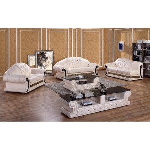 Divani Casa T377 Classic Cream Leather Sofa Set