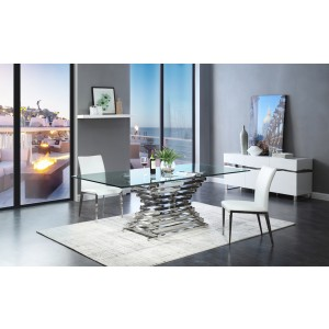 Modrest Crawford Modern Rectangular Glass Dining Table