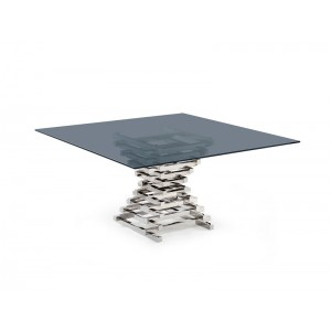 Modrest Crawford Contemporary Smoked Glass Square Dining Table