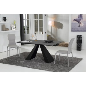 Modrest Grant Contemporary Concrete Glass Extendable Dining Table