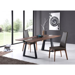Modrest Corey Modern Walnut & Glass Dining Table