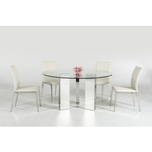 Modrest Colin Contemporary Round Glass Dining Table