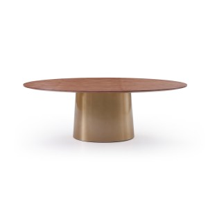 Modrest Emil Modern Walnut & Brass Oval Dining Table