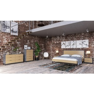 Nova Domus Conner Modern Light Walnut & Concrete Bedroom Set
