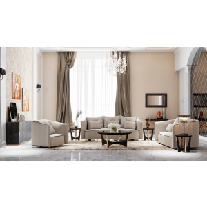 A&X Talin Modern Beige Fabric Sofa Set