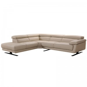 Divani Casa Gypsum Modern Taupe Leather Sectional Sofa