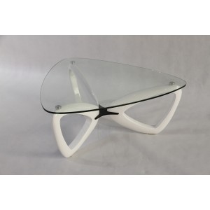 Modrest Medina Contemporary Glass & White Coffee Table
