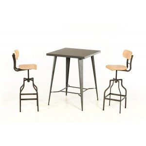 Modrest Thomas Modern Grey Square Bar Table