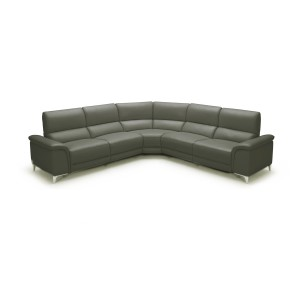 Divani Casa Tilden Modern Dark Grey Eco-Leather Sectional Sofa w/ Recliners