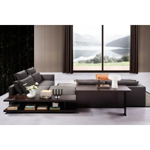 Divani Casa Tivoli Modern Grey Fabric Sectional Sofa w/ Shelves & Desk