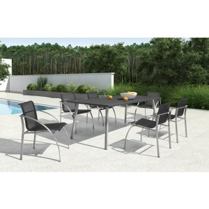 Renava Toluca Outdoor Black Granite Dining Set