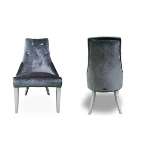 Charlotte - Grey Velour & White High Gloss Dining Chair (Set of 2)