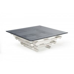 Modrest Upton - Modern Square Smoked Glass Coffee Table