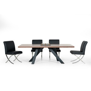 Modrest Vanguard Modern Walnut & Black Dining Table