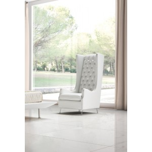 Estro Salotti Vanity Modern White Leather Lounge Chair