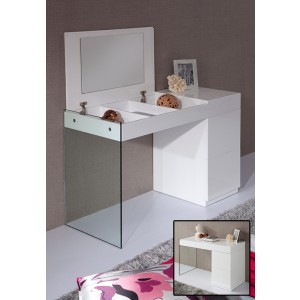 Modrest Volare - Modern White Floating Glass Vanity With Mirror