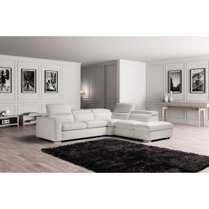 Estro Salotti Vertigo Modern Grey Leather Sectional Sofa w/ Storage