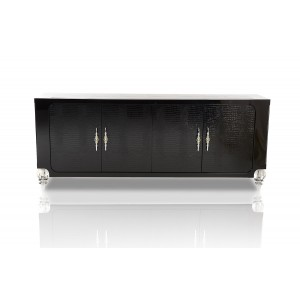 A&X Baccarat - Transitional Black Crocodile Lacquer Buffet
