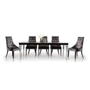 A&X Baccarat - Transitional Black Crocodile Lacquer Dining Table