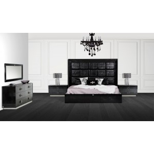 A X Victoria Modern Black Crocodile Bedroom Set