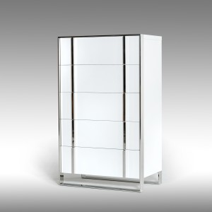 Nova Domus Francois Modern White & Stainless Steel Chest