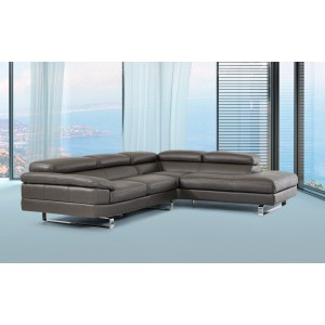 David Ferrari Violetta Italian Modern Grey Leather Sectional Sofa