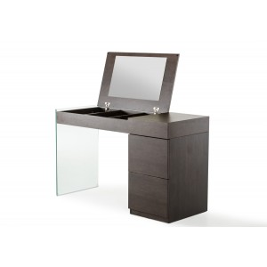 Modrest Volare Modern Brown Oak Floating Glass Vanity w/ Mirror
