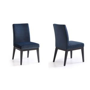Modrest Wales Modern Blue & Smoked Ash Dining Chair (Set of 2)