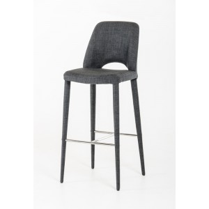 Modrest Williamette Modern Dark Grey Fabric Bar Stool