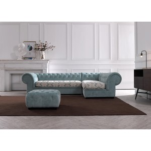 Divani Casa Metropolitan Mini Transitional Grey Fabric Sectional & Ottoman